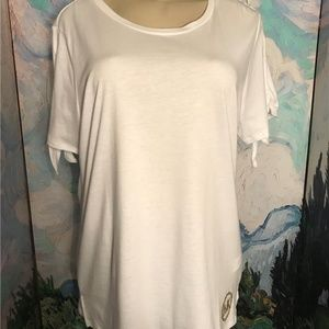 Micheal Kors XL White Logo Tie Sleeve Tunic Top